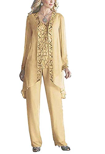 TOPG Women's Elegant Mother Of The Bride Pant Suits For Wedding 3 Pieces US 24W Champagne