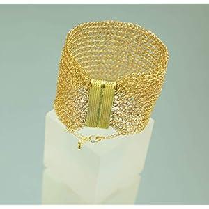 24ct Armreif, vergoldetes Armband, gehäkeltes, breites Armband aus Draht