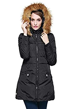 Orolay Women s Down Jacket with Faux Fur Trim Hood Black M