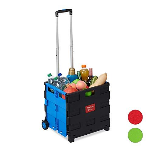 Relaxdays Einkaufstrolley klappbar, Teleskop-Griff, 2 Gummi Rollen, bis 35 kg, Shopping Trolley, Aluminium, ABS, blau 98 x 45,5 x 37 cm