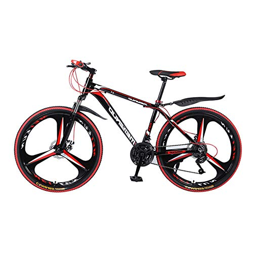 Black Adult Mountain Bike Student Outdoors Exercise Cycling Outroad Bicycles 21 Speed Full Suspension Aluminum Alloy Frame Single Wheel Double Disc Brake 26 Inch Youth Comfort Road Bikes