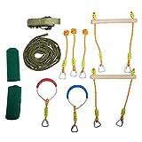 HAPPYPIE Ninja Slackline Monkey Bar Kit Outdoor Tree Hanging Obstacles Line Accessories Play Set for Kids