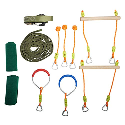 happypie Slackline Hindernisse für Kinder Klettertau für Anfänger Ninja Line Set zum Aufhängen