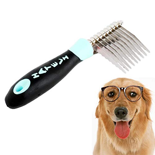 Conkoo Dematting Fur Rake Comb Brush Tool Compact Dematting Comb Tool for PetsGrooming Removing Tangle Knots for Long and Short Hair Dog and Cat and Other Pet (Color : Baby Blue)