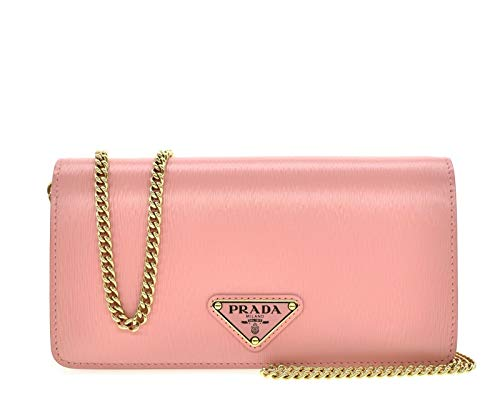 Prada Vitello Move Crossbody Chain Wallet Pink Petalo Leather 1BP021
