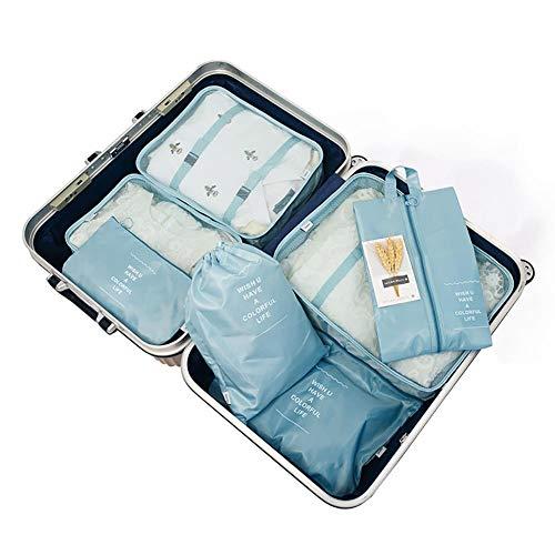Wxianmy Juego de 7 bolsas de almacenamiento de viaje multifunción, bolsa de almacenamiento portátil, bolsa de almacenamiento con cordón para hombres y mujeres, regalo de viaje a casa