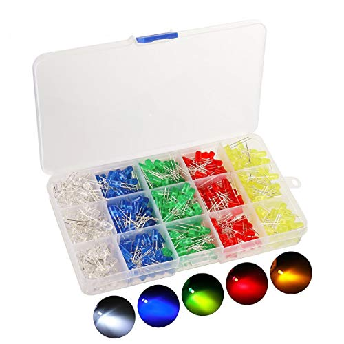 KINGSO 500 piezas de diodos emisores de luz LED de 5 mm establecen componentes electrónicos redondos 5 colores (100 piezas cada color)
