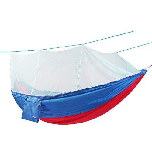 GCX Sólido Hamaca al Aire Libre con mosquitera, Lienzo Doble, Malla de mosquitera, Malla, Columpio de Interior Relajarse (Color : Blue)