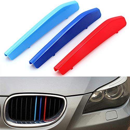 TOPGRIL M-Colored Stripe Grille Insert Trims M-Performance Sport Grille Insert Trim Strips for 2004-2010 BMW E60 5 Series 525i 528i 530i 535i 540i 545i 550i M5 Front Kidney Grilles (11 Beams ONLY)