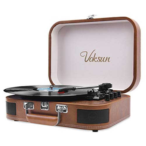 Voksun Suitcase Record Player, Bluetooth Turntable with Built-in Stereo Speakers, 3-Speed Nostalgic LP Vinyl Player, Supports Vinyl to MP3 Recording, with AUX USB RCA Headphone Jack, Brown