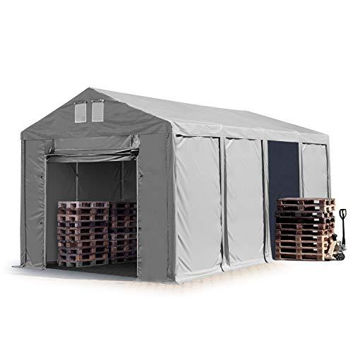 TOOLPORT Lagerzelt Industriezelt 4x8 m Zelthalle mit 3m Seitenhöhe in grau 550g/m² PVC Plane 100% Wasserdicht Ganzjahreszelt mit Hochziehtor