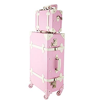 """CO-Z Premium Vintage Luggage Sets 24"""" Trolley Suitcase and 12"""" Hand Bag Set with TSA Locks"""