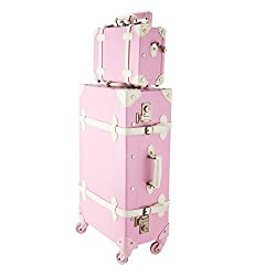 """cheap Vintage Suitcase CO-Z Premium Vintage 24 """"Trolley Suitcase and 12"""" Shopping Bag with TSA Lock (Pink …"""