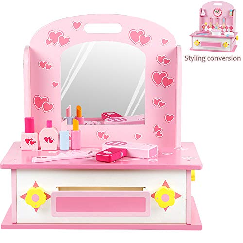 GFQTTY Kinder Vanity Table Set, 2 in 1 Küchenherd Spielzeug, Simulation Make Up Toy, Kleinkind...