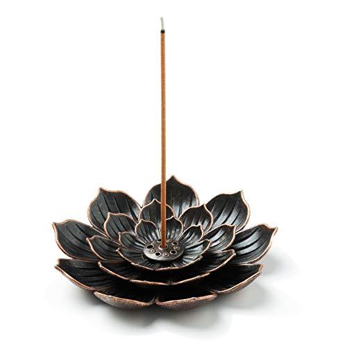 GARMOLY Incense Burner, Incense Holder for Sticks, Brass Lotus Incense Stick Holder and Detachable...