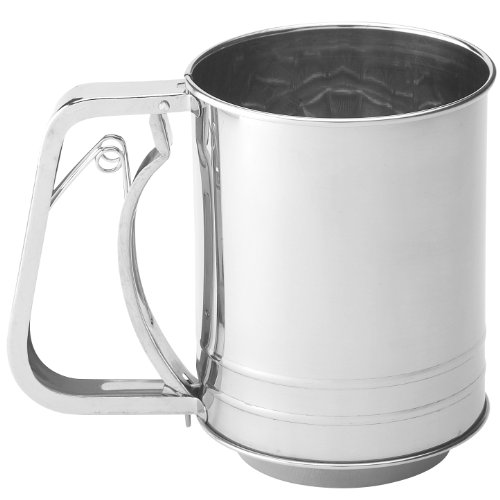Mrs. Anderson's Baking Hand Squeeze Flour Sifter, Stainless Steel, 3-Cup Capacity