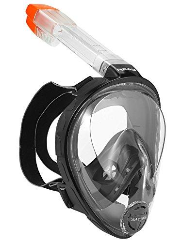 Head Sea Vu Dry Full Face Snorkeling Mask, Black/Black-Small/Medium (Made In Italy)