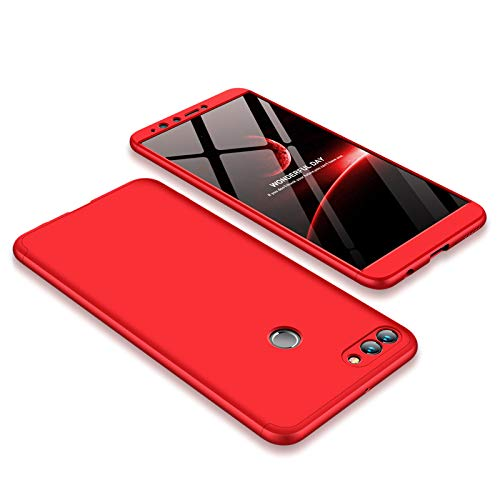 JMGoodstore Hülle Kompatibel Huawei Honor 7A/Y6 2018,+Panzerglas Bildschirmschutzfolie,3 in 1 Ultra Dünn 360 Full Body Anti-Kratzer Hart PC Skin Glatte Rückseite Bumper Rot