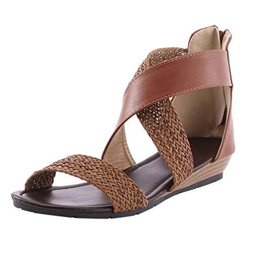 Damen Bequeme Flat Beach Peep Toe Sandalen mit elastischen Knöchelriemen Sommer Outdoor Sandals(Braun/Brown,42)