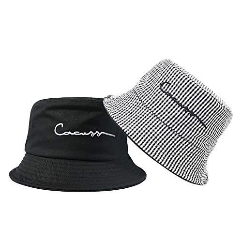 CACUSS Unisex Sombrero Pescador Reversible Cubo Gorra 100% Algodón Anti-UV Sol Bucket Hat Tartán Plegable Cubeta Gorra Moda para Viaje Actividades Aire Libre Senderismo Camping Playa