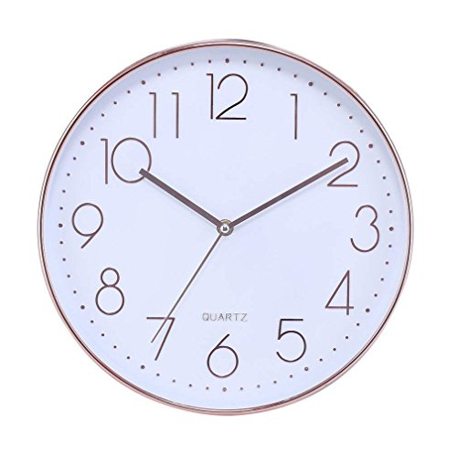 """Modern silent non ticking wall clock 12"""" round decorative battery operated digital large wall clock,rose gold"""