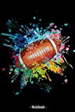 Notebook A5 - Football americano davanti alla spruzzata di colore di acquerelli per atleti, calciatore: 120 pagine per allenamenti, appunti, giocate, ... Taccuino per gli atleti nello stadio.