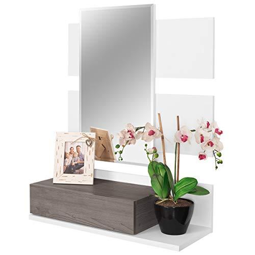 COMIFORT Recibidor Colgante - Mueble de Entrada con Cajón, Espejo y Estante de Estilo Nórdico y Moderno, Muy Resistente y Estable, de Color Blanco y Trufa