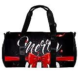 Bolsa de deporte redonda con correa de hombro desmontable, cinta de lazo de Navidad, fondo negro, bolsa de entrenamiento para mujeres y hombres