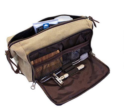 DOPP Kit Toiletry Travel Bag for Men and Women YKK Zipper Canvas & Leather. (Large, Khaki)