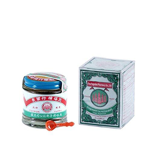 五塔標行軍散 Five Pagodas Ya-HOM Powder (Agastache Abdominal Pain, Diarrhea) Herbal Supplement 0.88oz x3pk