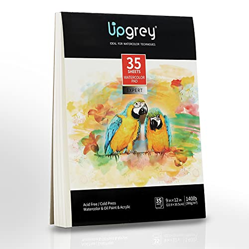 UPGREY Watercolor Paper Pads 35 Sheets Acrylic Painting Paper 9'x12' Sketch Pads Drawing Paper Acid Free Sketchbook Watercolor Journal Cold-Pressed Double Sided for Wet & Dry Media (140lb/300gsm)
