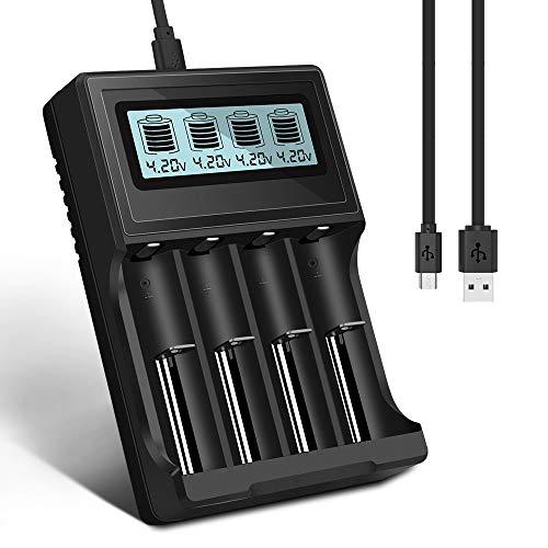 Palo 18650 Cargador de batería con Pantalla LCD Inteligente Carga rápida para 18650 16340 14500 26650 3.7V Baterías Recargables de Iones de Litio (baterías no Incluidas)