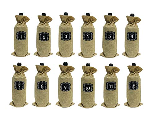 12 PCS Burlap Wine Bags with Drawstring Wine Blind Tasting Bag Plus 12 Number Sticker For Blind Tasting And Travel, Wedding, Birthday, Housewarming and Dinner Party