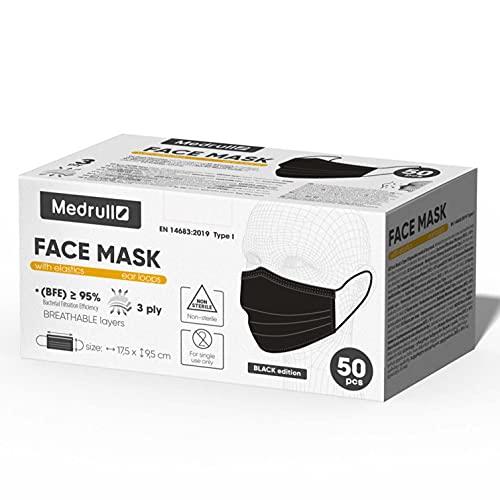 Medrull N50 Maske - CE-zertifiziert EN 14683, Einweg-Mund- und Nasenschutz - 3-lagige Atemschutzmaske mit elastischen Ohrschlaufen, schwarz, 50er Pack