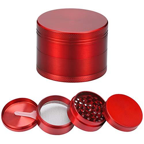 metagio Grinder, Kräutermühle, kleiner Grinder, Mühle 55mm 4-teilig inkl, Zerkleinerer von Herb, Spice, Kräuter, Gewürz und Kaffee(Rot)