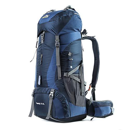 HWJIANFENG Trekkingrucksack Wanderrucksack - Große Kapazität 70L - Ultraleicht, strapzierfähig - Perfekt für Camping/Wandern/Bergsteigen/Reisen mit Regenhülle, Dunkelblau