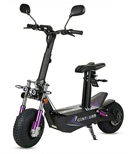 Virtuemart Patinete Scooter eléctrico matriculable homologado Ecoxtrem de 3000w 45-50 km/h Centauro patín Muy Potente con sillín y Plataforma en Color Negro y Lila
