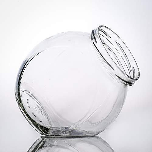 Flaschenbauer- 5X Bonbongläser 870ml inklusive eines silberbedampften Kunststoffverschluss als Vorratsglas, zur Aufbewahrung von Kosmetikartikel oder für eine Candy Bar.