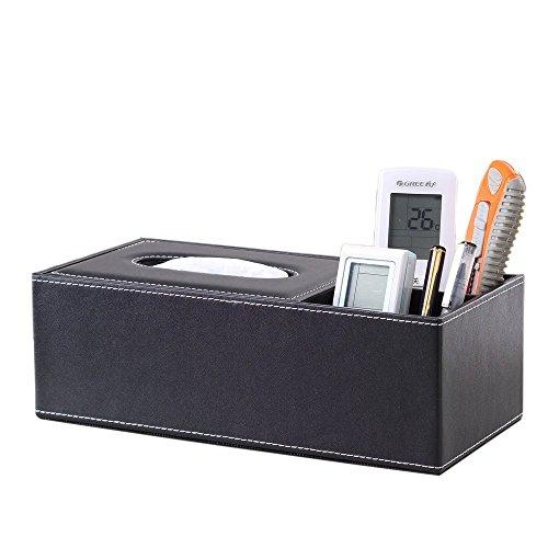kingfom TM Creative Tissue Box Halter, Multifunktions Schreibtisch Stiftehalter Tidy Fernbedienung Halter Full Black