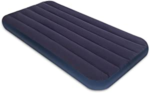 Twin Size Air Mattress for Tents - Portable Navy Line Blow Up Bed with Flocked top - Single Foldable Inflatable Bed for Car Camping Home Travel Backpacking