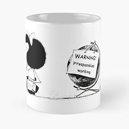 Mafalda World - Tasa de café de cerámica blanca de 11 onzas para hombres, mujeres, niños, niñas, etc.