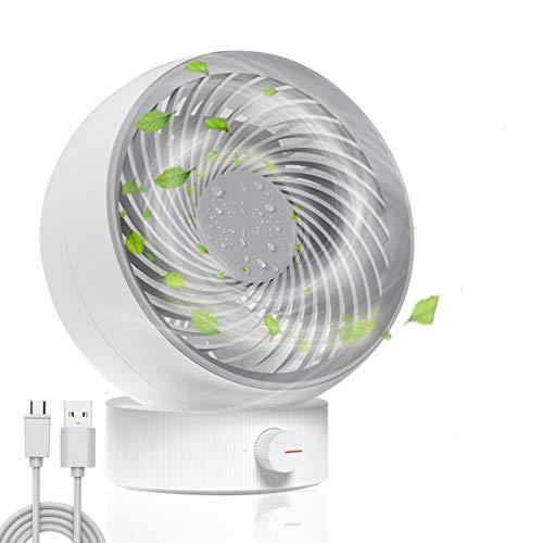 TedGem Ventilador, Ventilador USB Ventilador de Mesa Mini Ventilador USB Silencioso 180 Tipos Velocidad del Viento, Puede Ajustar hacia Arriba y hacia Abajo 20 °, para Oficina/Hogar/Viajar (Blanco)