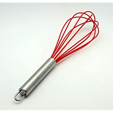 CookEasy Premium Non-stick Silicone Whisk - Heat-Resistant Silicone Kitchen Tools Utensils - Cherry Red