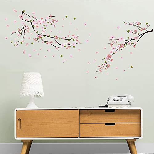 ufengke Wandtattoos Blumen Pfirsichblüte Wandsticker Wandaufkleber Baum AST Wanddeko für kinderzimmer Mädchen Wohnzimmer