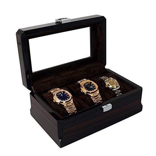 JIANGCJ Bonita caja de almacenamiento de reloj de madera Caja de almacenamiento de 3 dígitos Caja de almacenamiento de pintura Caja de regalo Relojes de joyería (color: negro, tamaño: S)
