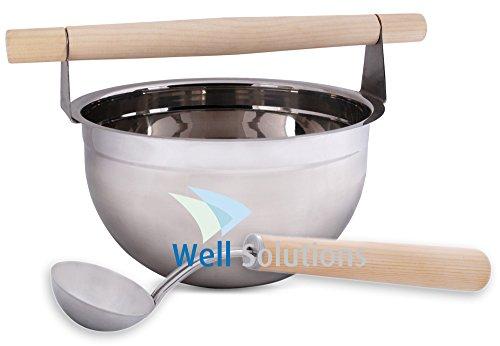 Well Solutions® Luxus Sauna Zubehör Set: Kübel Edelstahl 4Ltr, Kelle Edelstahl mit Holzgriff Well Solutions