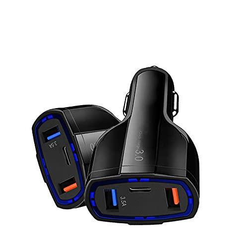 35W de carga rápida QC 3.0, 3 puertos USB y tipo C Adaptador de enchufe de coche para iPhone, Samsung, Huawei, cargador universal de coche