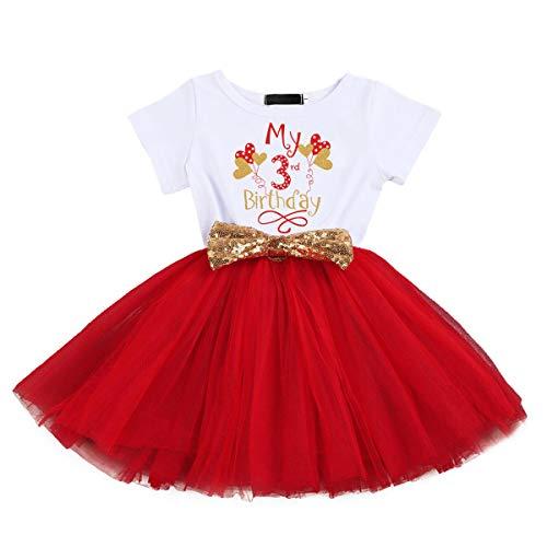 FYMNSI Vestido de manga corta para bebé, niña, de algodón, tutú de tul, línea A, vestido de princesa, vestido de fiesta para sesión de fotos. Rojo - Globo 3º cumpleaños 3 Años