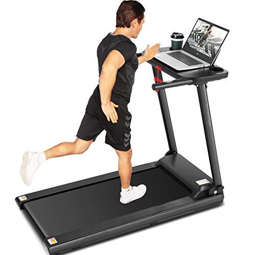 ANCHEER Cinta de correr, cinta de correr plegable con escritorio grande y altavoz Bluetooth, la mejor máquina de cinta de correr para caminar para gimnasio en casa, oficina, uso cardiovascular (negro)