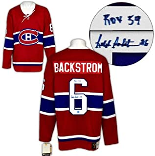 Ralph Backstrom Montreal Canadiens Autographed Signed Fanatics Vintage Hockey Jersey with ROY 59 Note